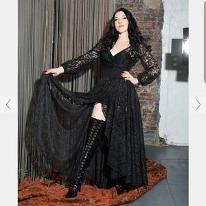 NWT Elvira black Lace wrap Dress Pinup couture